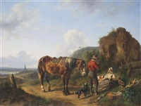 a panoramic river landscape with a family resting near a ruin by wouter verschuur the elder