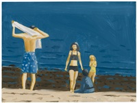 four people with towel by alex katz