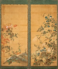 flowering plants (on 2 panels) by japanese school-rimpa (19)
