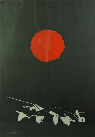 black ground - red disc by adolph gottlieb