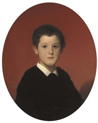 portrait of a young boy, bust length, in a black smock with a white collar by hégésipe jean vetter