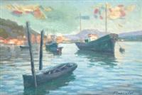 barcos junto a la costa by felipe emperador
