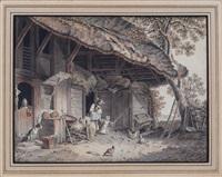 scène familiale à la ferme by sigmund freudenberger