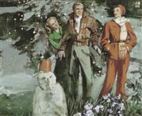 man with two female admirers outdoors at christmas time by elbert mcgran jackson