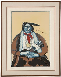 indian with feather fan by fritz scholder