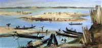 pêcheurs préparant leurs pirogues au bord du niger by maurice fiévet