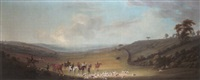 an extensive landscape with hunting party by thomas (of derby) smith