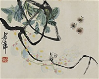 wisteria and three bees by qi baishi
