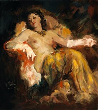 nude with white gloves by william frederick foster