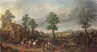 a summer landscape with peasants dancing in the village by jan anton garemyn