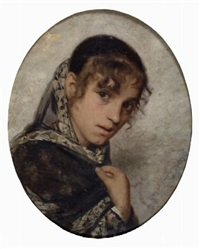giovane donna con scialle by angiolo tommasi