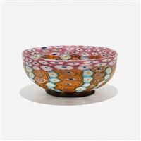 murrine bowl with applied foot by vetreria fratelli toso