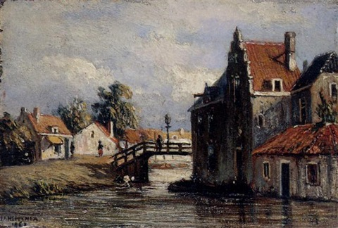 a view of a canal by johannes jacobus jan heppener