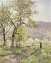 paysage du doubs avec paysans et cure en bord de rivière by marie-victor-emile isenbart