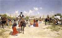 feria de sevilla (the fair at seville) by mariano obiols delgado