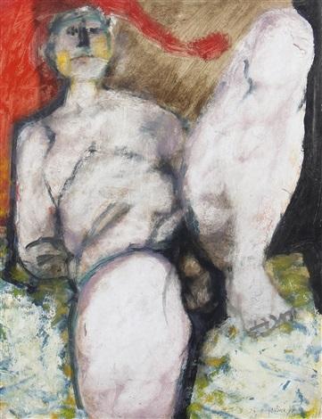 reclining male nude by douglas portway
