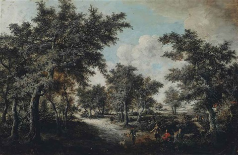 a wooded landscape with falconers on a path by salomon rombouts