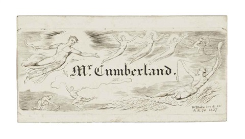 george cumberlands visiting card and bookplate by william blake
