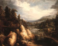 a rocky river landscape with a bridge and figures by pieter michiel (den hyger) staal