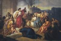 judith zeigt dem könig und dem wolk das haupt des holofernes by august von heckel