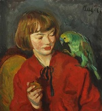 girl with a parrot by august torsleff