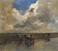 cows watering in a polder landscape by frans smissaert