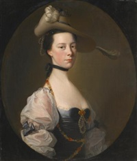 portrait of a lady, half length, wearing van dyck costume by joseph wright (of derby)