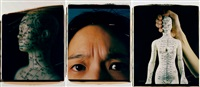 self portrait (triptych) by caroline yu yin chiu