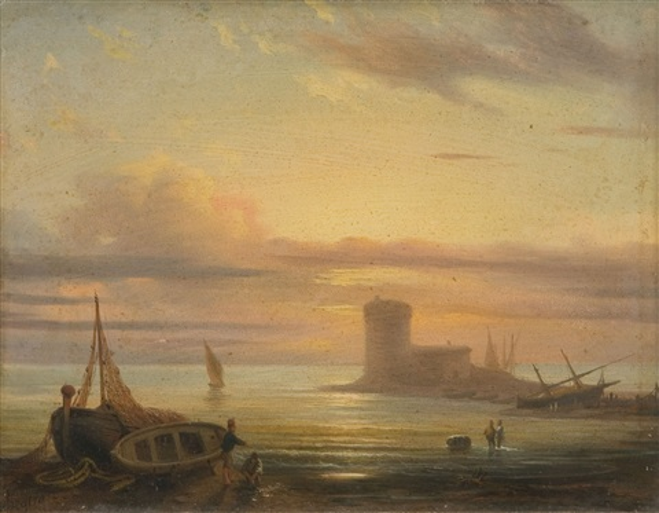 porto di mare con cavalieri e veliero alla fonda marina con barche e pescatori 2 works by massimo dazeglio