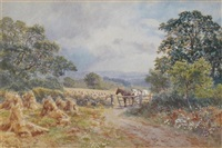 horses by a gate in a wheatfield by martin snape