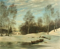 winter landscape at the edge of a village by alexander petrovitch sokolov