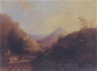 figures and a horse in a mountain path by cristianus hendricus de swart