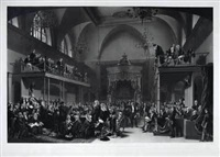 view of the interior of the house of peers, during the trial of queen caroline by john mallord bromley