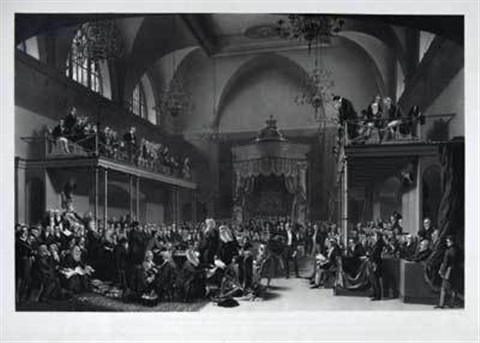 view of the interior of the house of peers during the trial of queen caroline by john mallord bromley