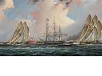 new york harbor regatta by james edward buttersworth