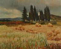 travail des champs, paysage provençal by marcel dyf
