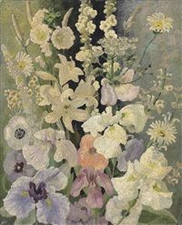 white flowers by sir cedric lockwood morris
