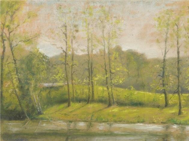 paysage à la rivière by léon augustin lhermitte