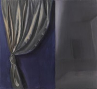a curtain (diptych) by yitzhak livneh