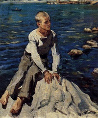garçon sur un rocher by nicolai babasiouk