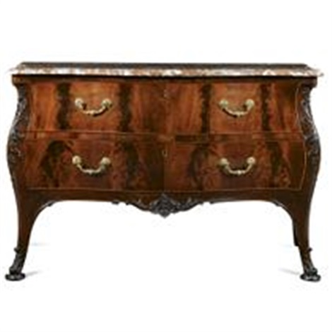 a george ii style bombé commode with an antico rouge serpentine top by thomas chippendale