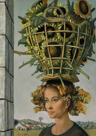 girl with sunflower basket by jean pierre alaux
