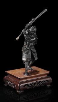 bronze eines kämpfenden samurai in prächtiger rüstung by yoshimitsu