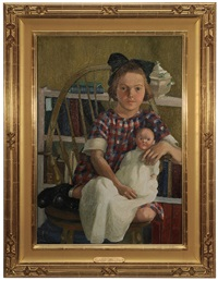 the young catherine adams, seated holding a doll by julian alden weir