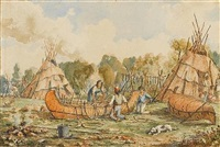 canoe building at fort william, ontario by william wallace armstrong