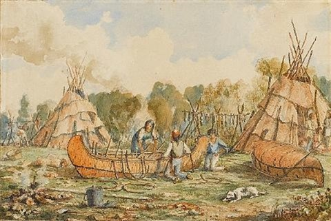 canoe building at fort william ontario by william wallace armstrong