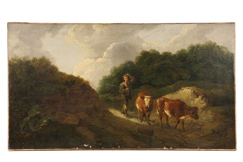 boy herding two cows through notch by thomas gainsborough