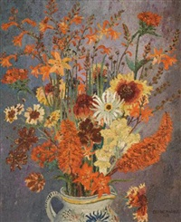 still life with flowers and a butterfly in a glazed earthenware jug by sir cedric lockwood morris