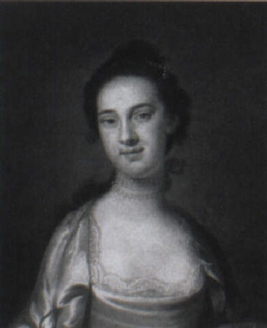 portrait of a lady wearing a grey silk dress and pearl necklace by john wollaston