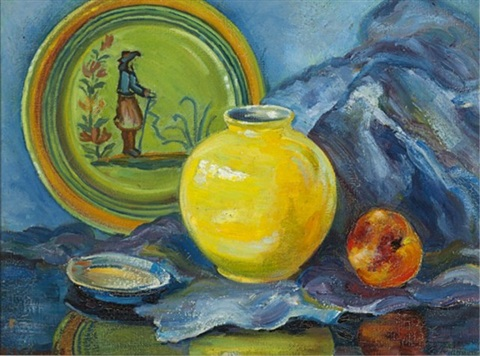 still life with quimper plate by edith grace coombs